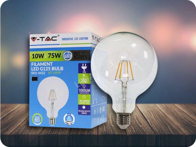 E27 Led Retro Filament Žárovka 10W, G125 (Barva světla Studená bílá)