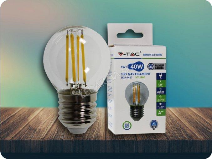 E27 Led Retro Filament Žárovka 4W, G45 (Barva světla Studená bílá)