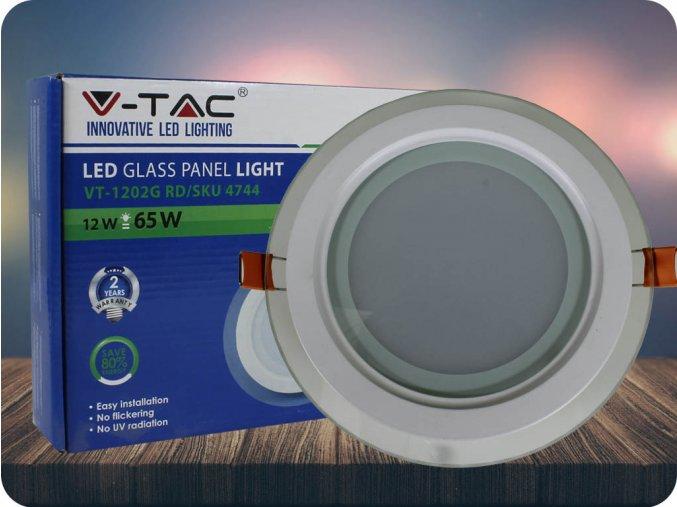 Led Panel 12W, Skleněné, Kulatý (Barva světla Neutrální bílá)