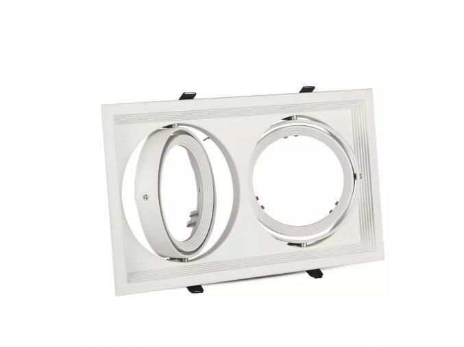 Rámeček Na 2 Žárovky Ar111 / Gx53, Obdélník, Bílá Barva