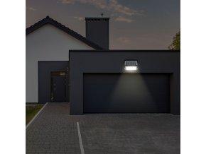 LED solární reflektor 10W (1100 lm), černý, IP65, 4000K