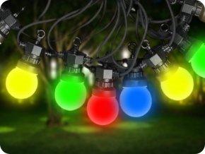 LED Řetězové svítidlo 10x 0,5W RGB LED žárovky, 5m, 24V, IP44