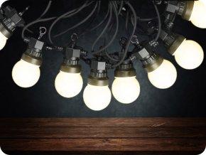 LED Řetězové svítidlo 20 x 0,5W LED žárovky, 10m, 24V, IP44 (Barva světla Studená bílá)