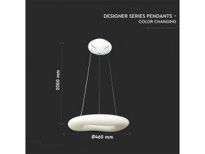 LED Designer lustr 32W (3100LM), bílý, se změnou  světla, stmívatelný