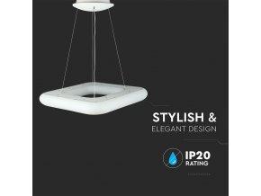 LED Designer lustr 42W (3400LM), bílý, se změnou  světla, stmívatelný