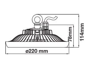 Průmyslový LED reflektor UFO (HighBay), 50W (4000Lm), černý