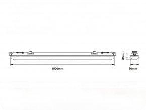 LED Voděodolná lampa 70W, 150 cm, 8400Lm (Barva světla Studená bílá)