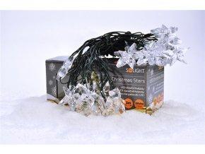 Solight LED vánoční řetěz, hvězdy, 20 LED, 3m, přívod 3m, IP20, bílý