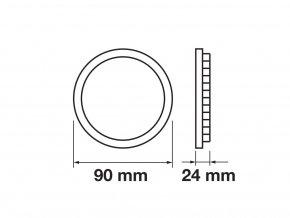LED Nadomítkový panel s napájecím zdrojem, 6W (420Lm), chrom, kulatý (Barva světla Studená bílá)