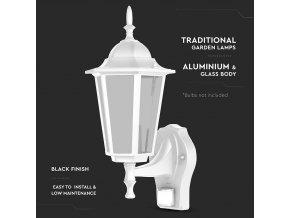 Zahradní fasádní/horní svítidlo se senzorem 1xE27, černé a  bílé, IP44 (Barva těla Bílá)