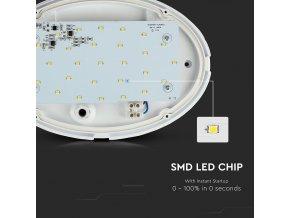 LED ovál, stropní / nástěnné svítidlo 12W (840Lm), IP54, bílé (Barva světla Studená bílá)