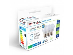 17825 vt 2176 5 5w g45 plastic bulbs colorcode 2700k e27 3pcs pack