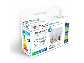 17858 vt 2176 5 5w g45 plastic bulbs colorcode 6400k e27 3pcs pack