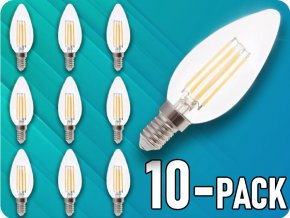 E14 Led Retro Filament Žárovka 4W, Svíčka, balení 10 Kusů!