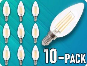 E14 Led Retro Filament Žárovka 4W, Svíčka - Balení 10 Kusů