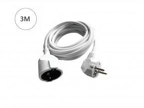 Prodlužovací kabel,  3m, 16A, 3G1.5mm2, bílý
