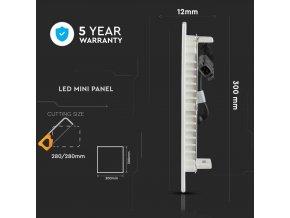 24W LED vestavěný panel s napájecím zdrojem, čtvercový (2000Lm), SAMSUNG chip