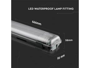LED Voděodolná lampa  2x10W trubice (1700lm), 2x60cm, IP65