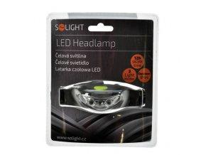 Čelová LED svítilna 3xLED, černo šedá, 2xCR2032
