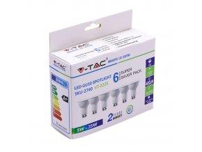 GU10 LED žárovka 5W (400lm), 110 °, 6-pack (Barva světla Studená bílá)
