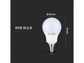 LED žárovka E14, RGB + 3000K, 3,5W (320lm), RF ovládání, P45
