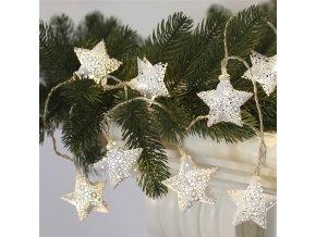 Solight LED řetěz vánoční hvězdy, kovové, bílé, 10LED, 1m, 2xAA, IP20