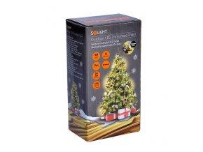 Solight LED venkovní vánoční řetěz, 50LED, 5m, 3m přívod, 8 funkcí, IP44, 3x AA, teplá bílá
