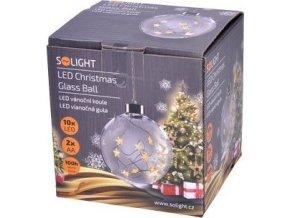 Solight LED vánoční koule skleněná, 10LED, 2xAA, IP20