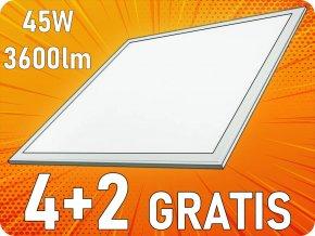 45W LED panel s napájecím zdrojem, 3600Lm, čtverec 60x60 cm, 4+2 zdarma! (Barva světla Teplá bílá)