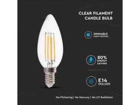 E14 Led Retro Filament Žárovka 4W, Svíčka, Teplá Bílá 2700K, Stmívatelná