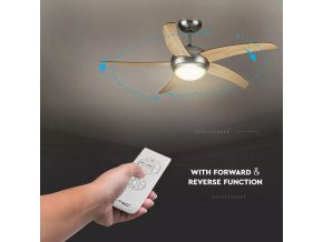 Stropní ventilátor 60W AC motor, RF ovládání, LED světlo 2xE27, 5 čepelí, 3 rychlosti