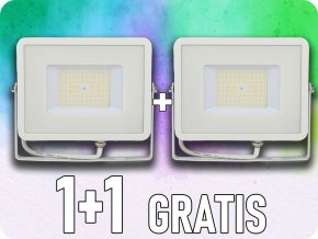 50W LED reflektor, 120lm/W, (6000lm), bílý, Samsung chip, 1+1 zdarma! (Barva světla Studená bílá 6400K)