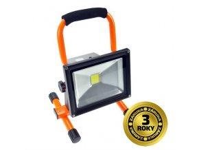 Solight LED reflektor, přenosný, nabíjecí, 20W, 1600lm, oranžovo-černý