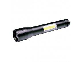 Solight LED baterka kovová, 3W + COB, 150 + 120lm, 2x AA, černá