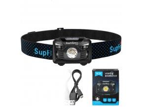 LED dobíjecí čelovka Supfire HL06, 3 módy + SOS + senzor, nabíjení přes Micro-USB, 5W, 240lm, 300m