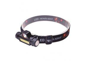 Solight LED čelová nabíjecí svítilna, 3W+3W COB, 150lm+120lm, Li-ion, USB