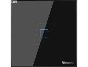 SMART-1-Vypínač černý WiFi + RF433 Sonoff, typ T3EU1C-TX (1 kanál), 2A, max.480W, tvrzené sklo