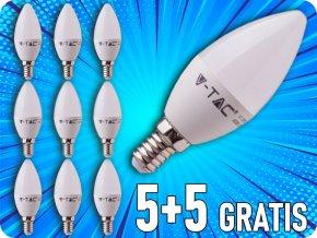 E14 LED žárovka 5.5W, 470lm, SAMSUNG chip, C37, 5+5 zdarma!