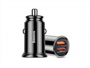 Nabíjecí adaptér do auta Baseus Dual QC 3.0, 30W, černý
