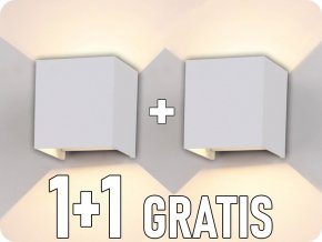 Nástěnné svítidlo, bílé, čtverec, IP65, 1+1 zdarma!