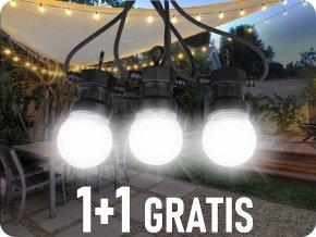 LED Řetězové svítidlo 20 x 0,5W LED žárovky, 10m, 24V, IP44, 1+1 zdarma!
