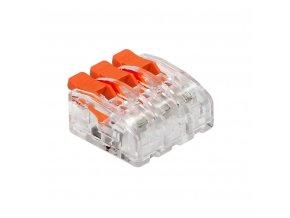 Spojka na kabely 3pin mini zacvakávací, 0.2-4mm2, 450V/32A