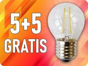 E27 Led Retro Filament Žárovka 4W, G45, 5+5 zdarma!