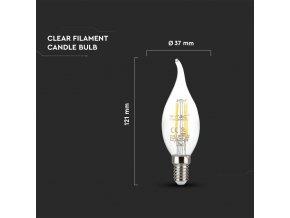 E14 Led Retro Filament Žárovka 4W, Svíčka, Teplá Bílá 2700K