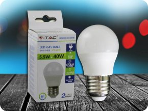 E27 LED ŽÁROVKA 5.5W, G45 (Barva světla Studená bílá)