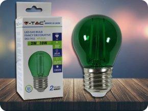 4167 2 e27 led barevna filament zarovka g45 2w 60lm zelena