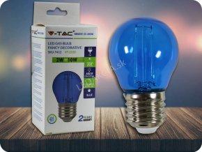 4176 e27 led barevna filament zarovka g45 2w 60lm modra