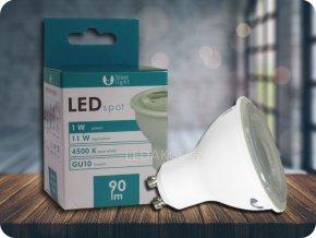 GU10 LED ŽÁROVKA 1W, 40° (Barva světla Neutrální bílá)