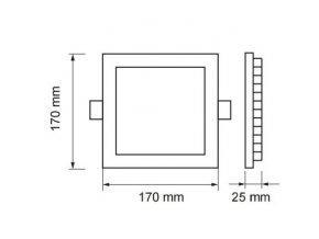 Led Panel 12W, Čtvercový (1000Lm), 40+40 ZDARMA! (Barva světla Neutrální bílá)