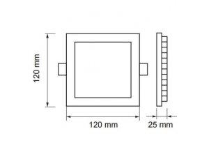 Led Panel 6W, Čtvercový (420Lm) (Barva světla Studená bílá)